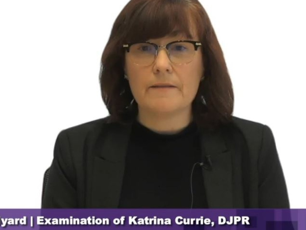 Katrina Currie getting examined at the hotel inquiry.