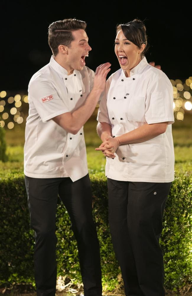My Kitchen Rules: The Rivals winners Jake and Elle Harrison. Picture: Channel 7