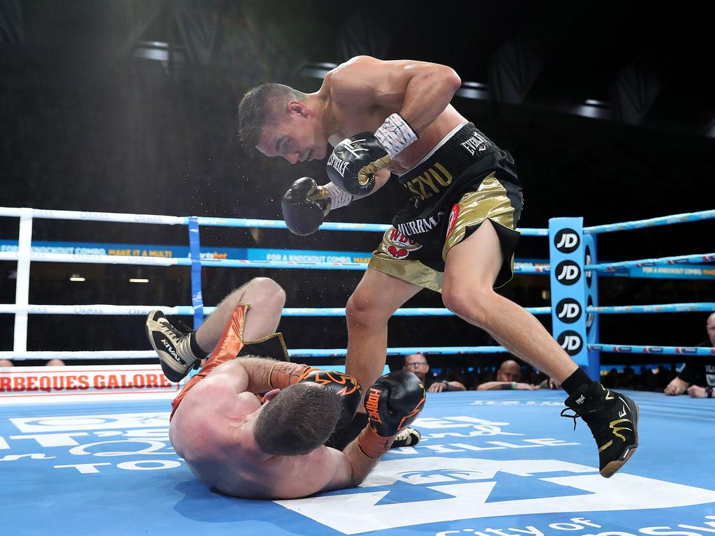 Tim Tszyu puts Jeff Horn down. Picture: Peter Wallis