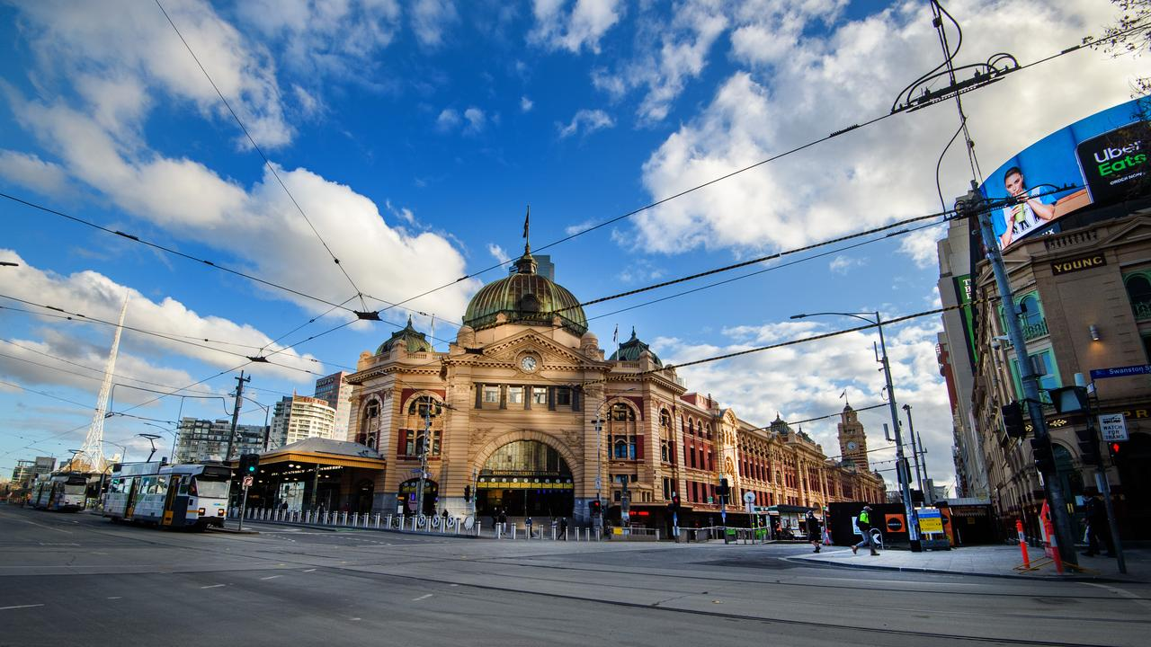 Melbourne's usually-bustling CBD is now deserted under Stage 4 restrictions. Picture: Jay Town