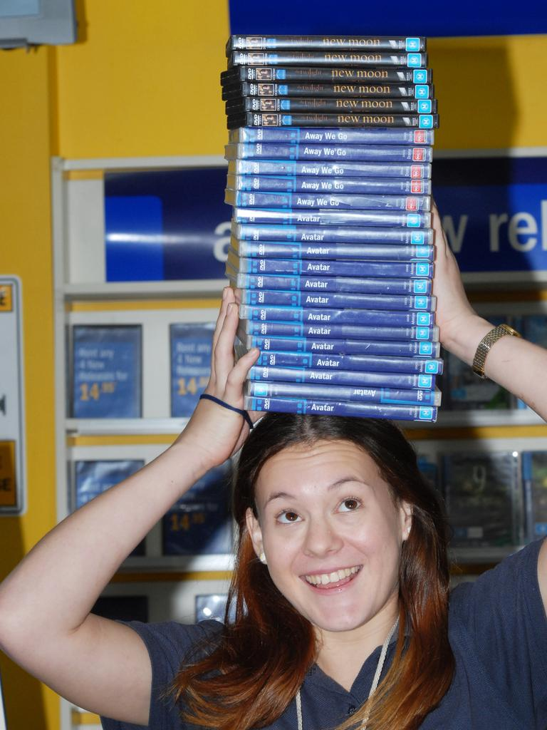 Blockbuster Mackay sales assistant Claire Steindl in the days before Netflix. Picture: Peter Holt