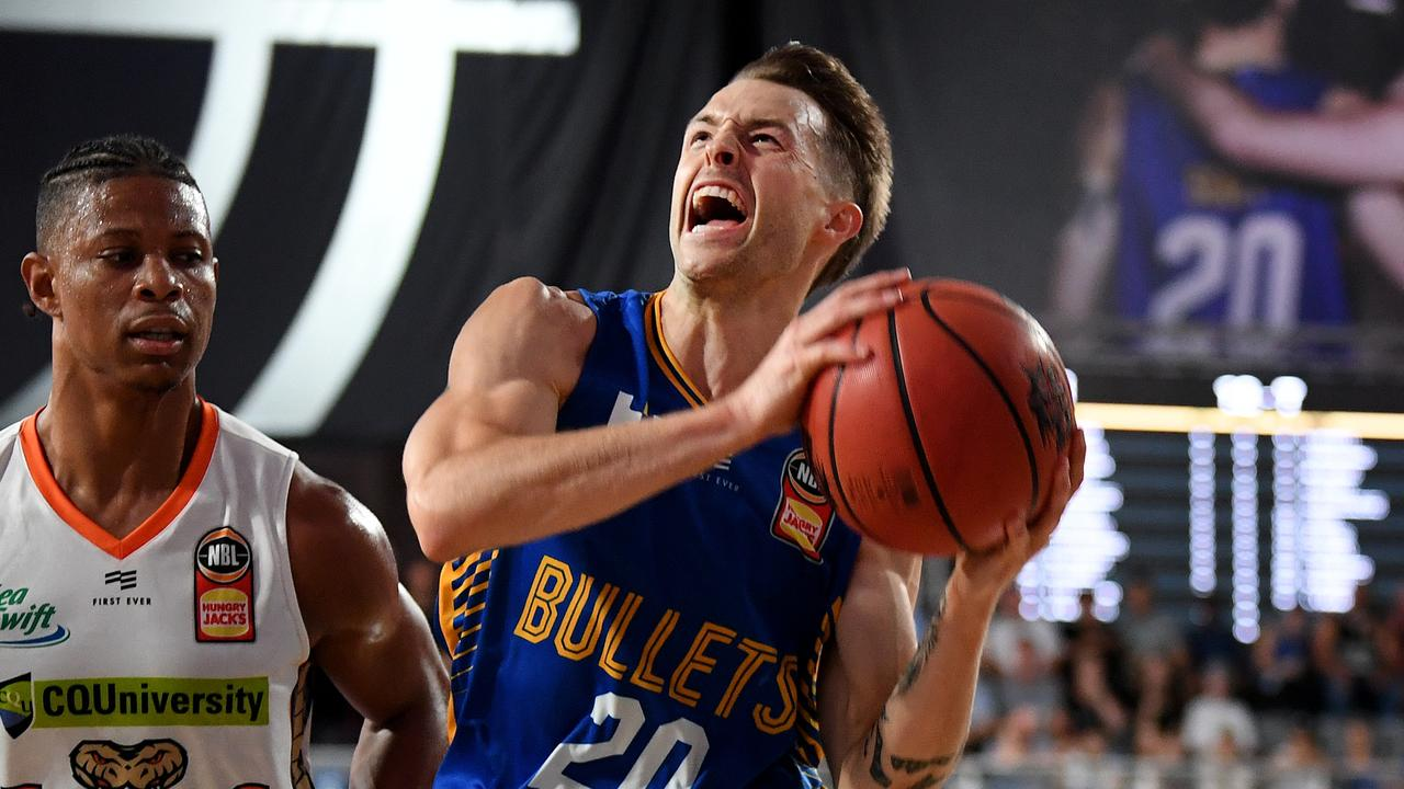 Nathan Sobey giving his all for the Brisbane Bullets. Picture: AP Image/Dan Peled