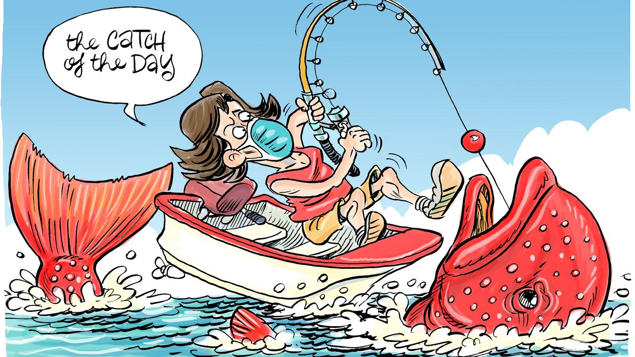 Cartoonist Harry Bruce's take on our weekly fishing report from Heidi Petith.