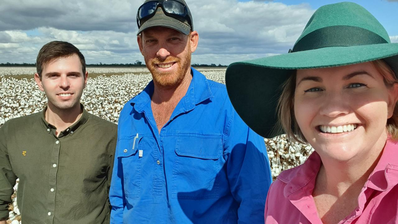 Cotton grower Ollie Volck, Central Highlands Cotton Growers Association president Aaron Kiely and Cotton Australia Regional Manager Renee Anderson.