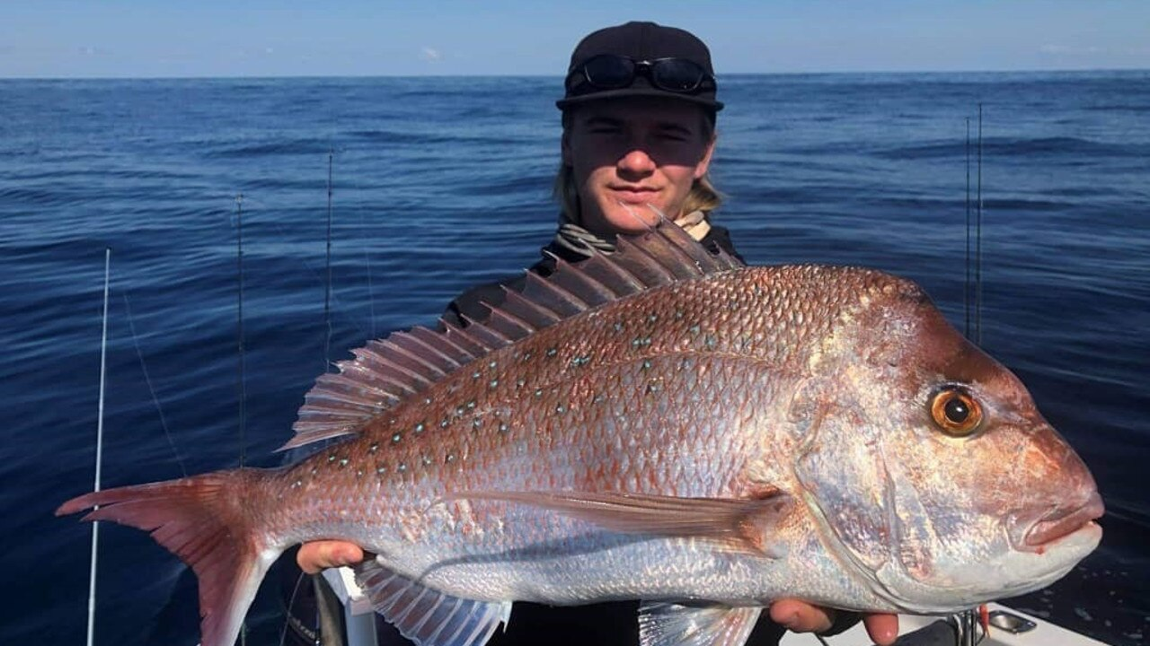 Local angler Cammo Sullivan fished the inshore reefs off Mooloolaba to catch this impressive snapper. Picture: Supplied