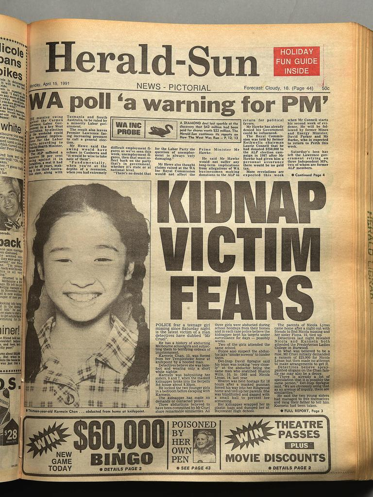 Front pages of the Herald Sun, April 15, 1991.