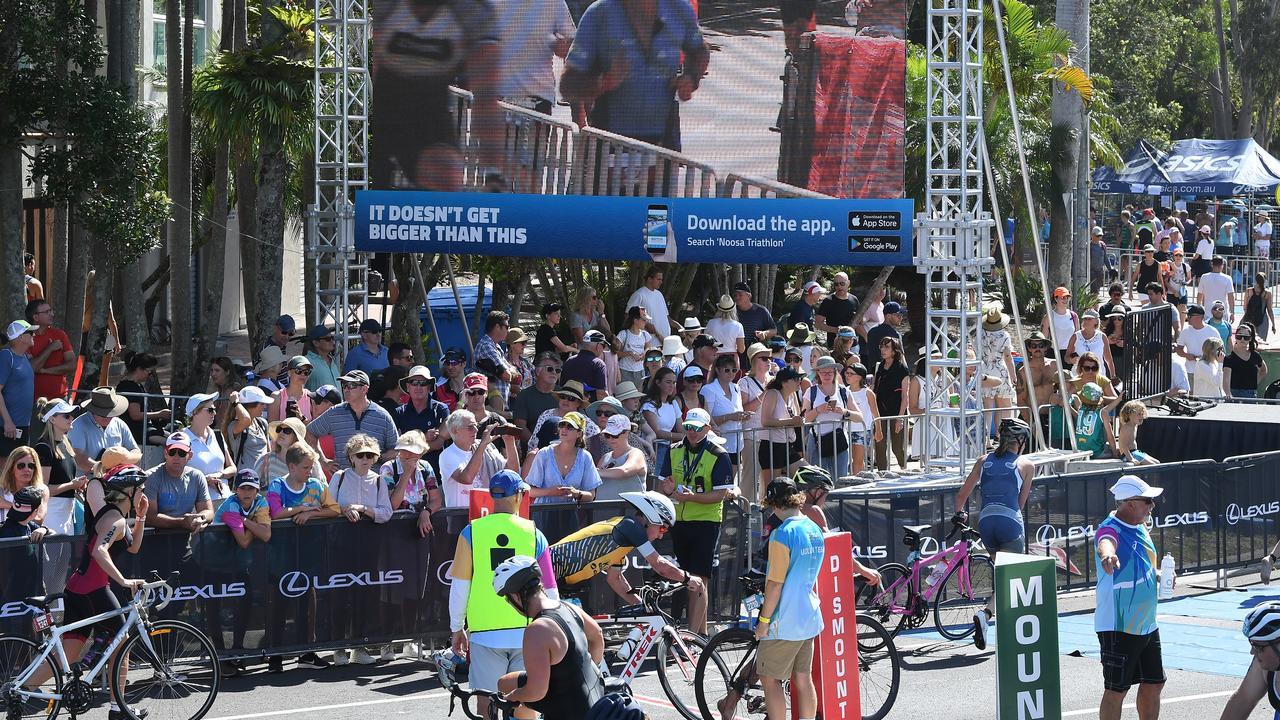 The 2019 Noosa Triathlon transition area crowd.