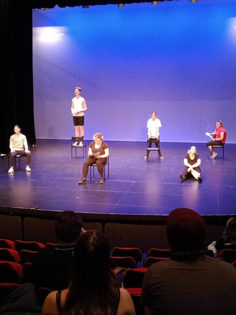 CQUni Bachelor of Theatre students perform with students from Mirani State High School.