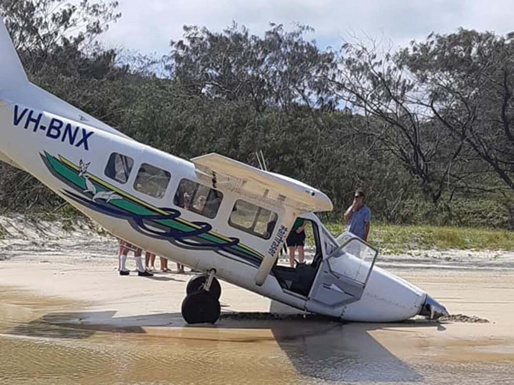 "An investigation into a Fraser Island light plane crash by the Australian Transport Safety Bureau has revealed the pilot failed in the ""go-around"" landing procedure. Picture: Supplied"
