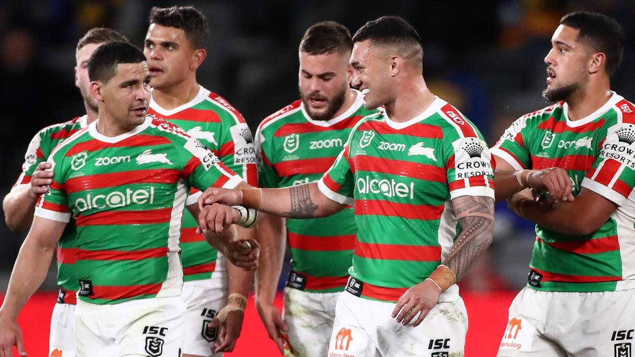 SYDNEY, AUSTRALIA - AUGUST 27: Cody Walker of the Rabbitohs celebrates with team mates after scoring a try during the round 16 NRL match between the Parramatta Eels and the South Sydney Rabbitohs at Bankwest Stadium on August 27, 2020 in Sydney, Australia. (Photo by Cameron Spencer/Getty Images)