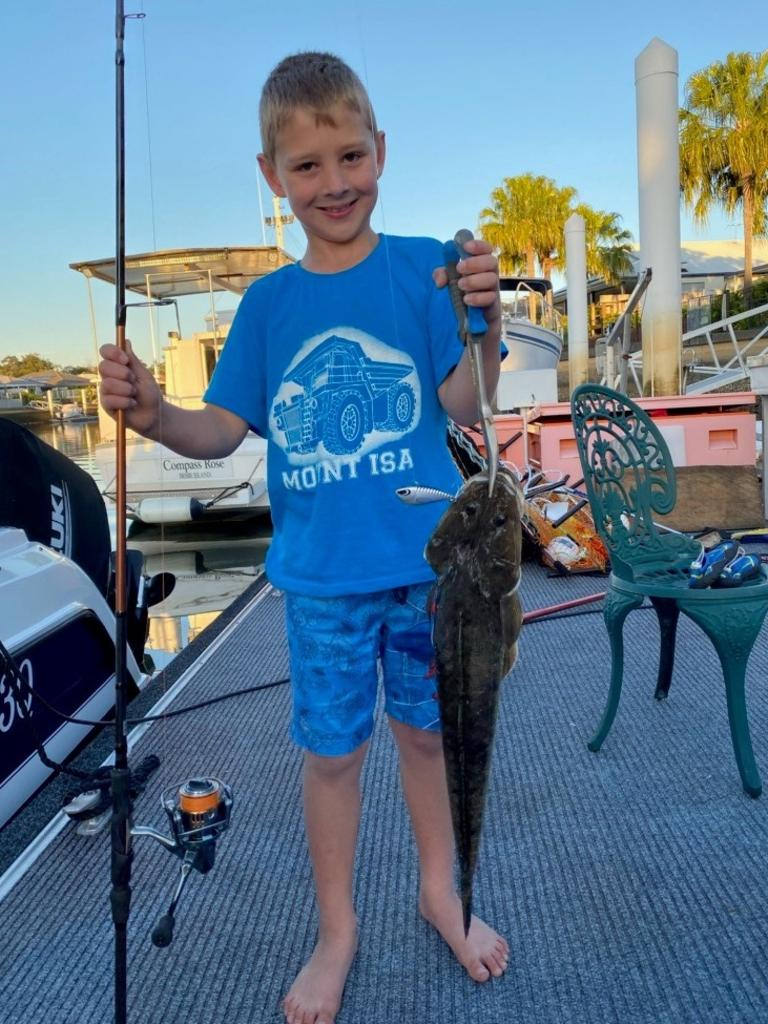 Young Cooper Bryant nailed this flathead on a hard body lure in a canal all on his own. Picture: Supplied