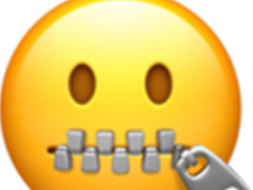 "Apple's 'Zipper-Mouth Face' emoji. Used to convey a secret, or that one will not discuss a certain matter with others aka ""my lips are sealed"". Picture: emojipedia"