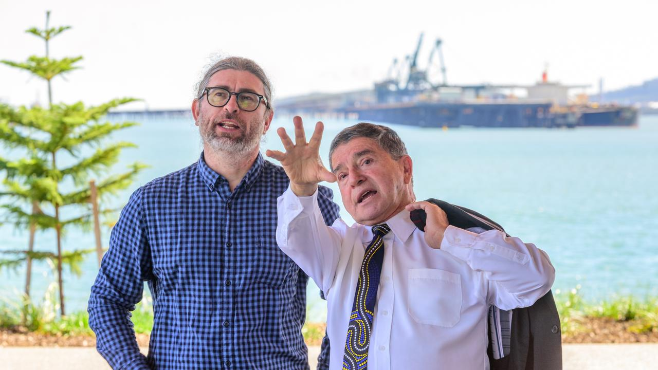 Gladstone Ports Corporation chairman Peter Corones (right) chats with Daniel Lato about the East Shores precinct where a new stage opened this week. Photo supplied.