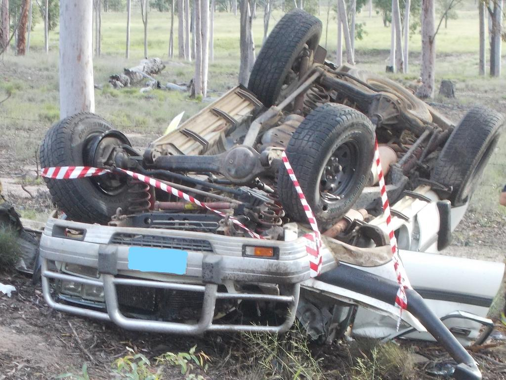 The scene of a single vehicle rollover five kilometres outside Eidsvold on March 11. Picture: Contributed
