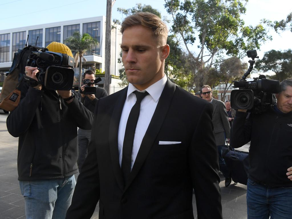 Jack de Belin has denied sexually assaulting a 19-year-old woman inside a Wollongong apartment in December 2018. Picture: AAP Image/Dean Lewins