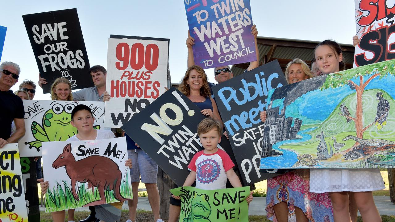 Stop Twin Waters West protesters make their opposition to Stockland's development proposal clear.