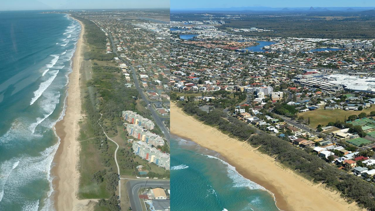 THEN AND NOW: Aerial photos of Kawana from the early 2000s until 2019. House prices in the Kawana area have grown considerably in the past two decades.