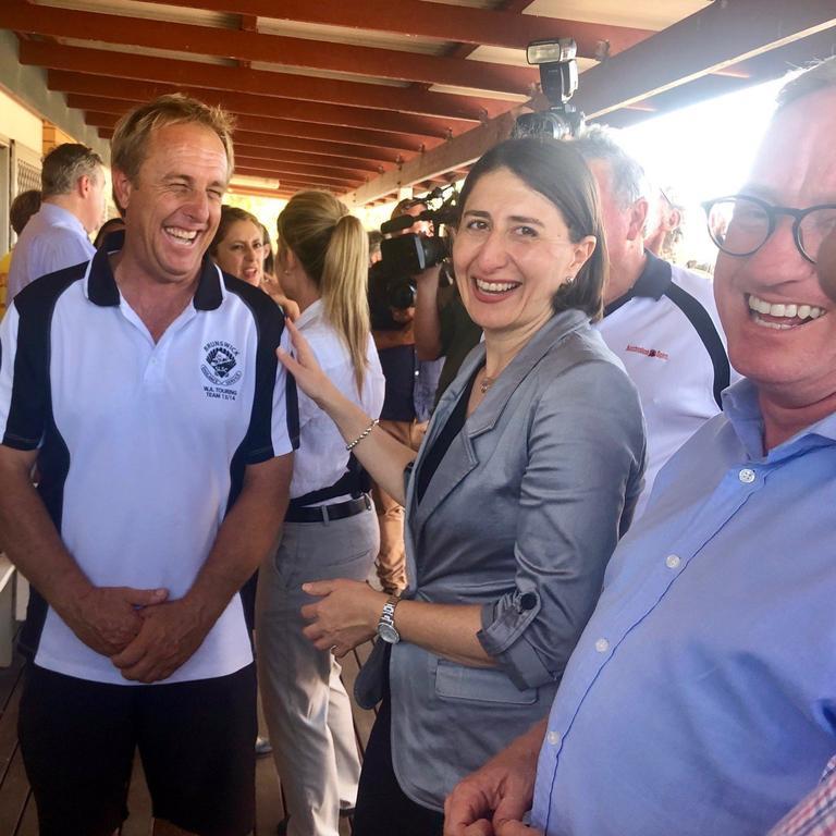 Premiere Gladys Berejiklian with Brunswick Head Surf Club president Craig Reid at the funding announcement last year.