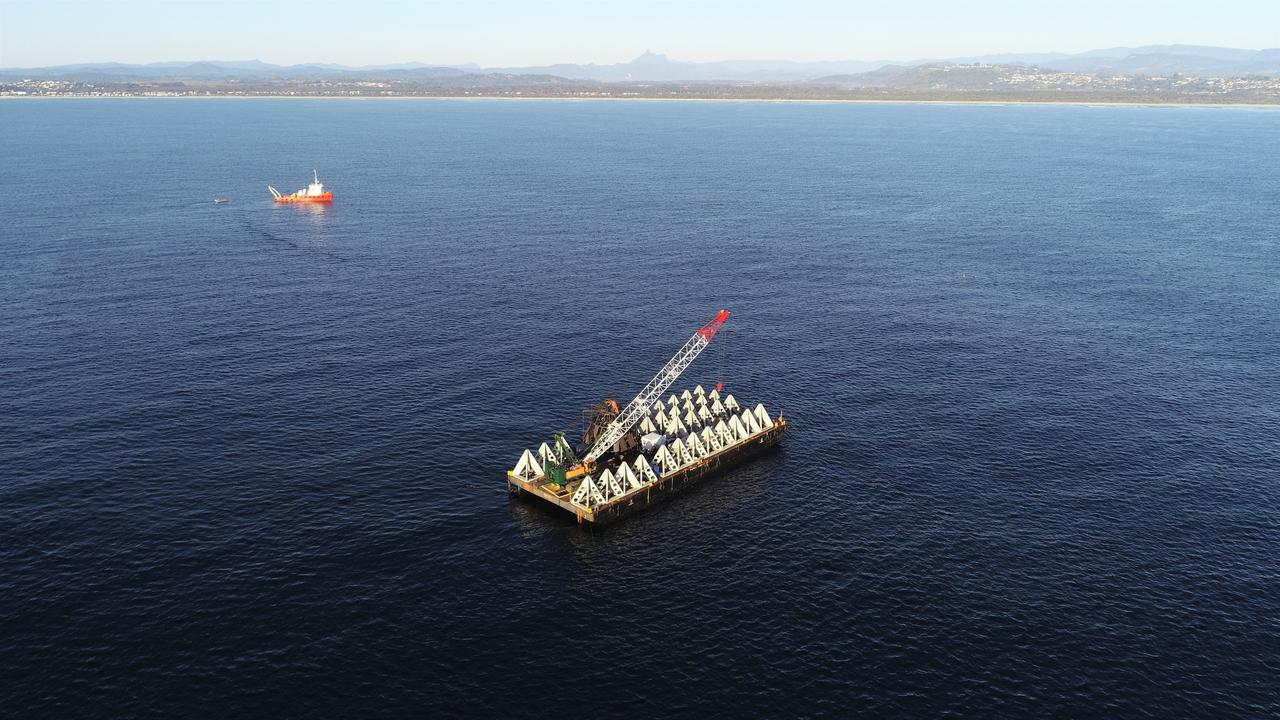 Installation of a new $1 million Offshore Artificial Reef has begun off the Tweed coastline today.