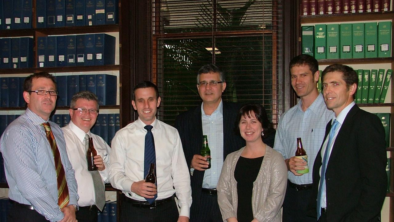 Barristers and solicitors at Rockhampton's Old Supreme Court Chambers in about 2010. From left: Jeff Clarke, Tony Arnold, Jordan Ahlstrand, Ross Lo Monaco, Maree Willey, Tom Polley and Graeme Crow. JENNY LIGHTFOOT