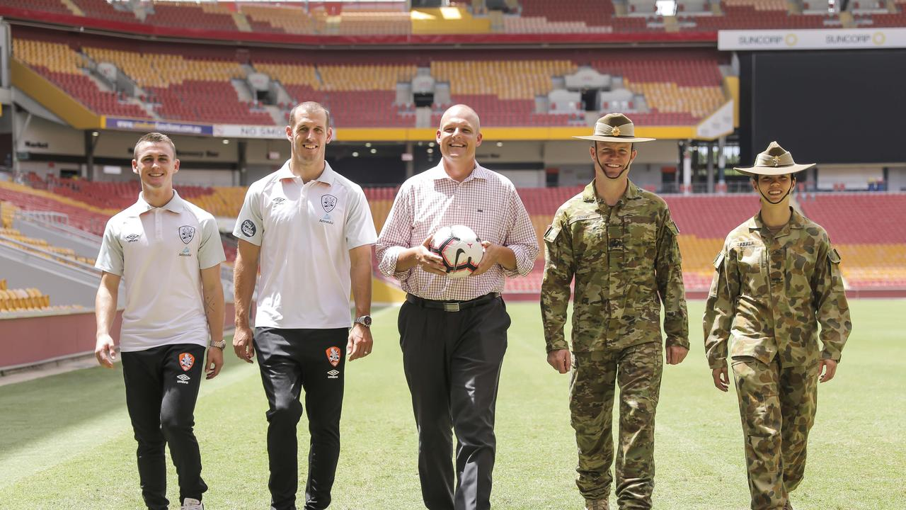 Dylan Wenzel- Halls, Luke DeVere, Troy Watson CEO mates4mates, WO2 Troy Perry and CFN Domonique Zabala at Suncorp Stadium. Pic Mark Cranitch.