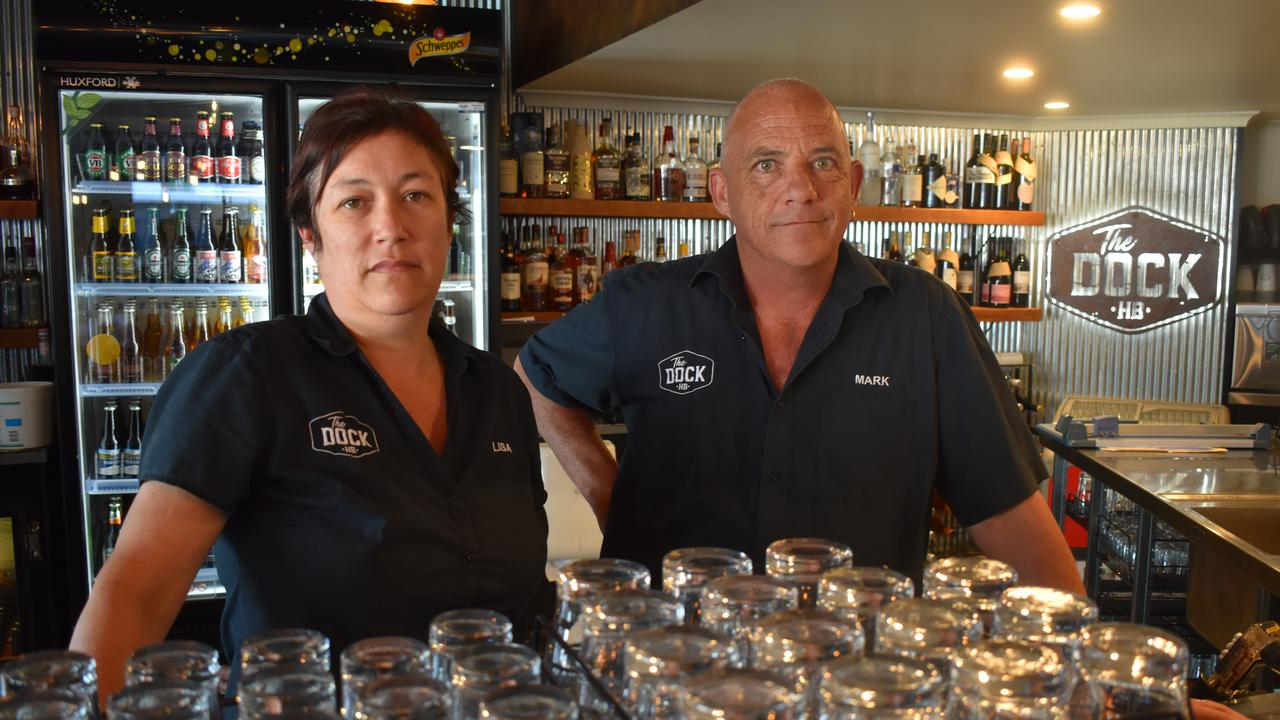 Lisa and Mark Blyth from The Dock Bar and Restaurant are sick and tired of copping COVID abuse. Photo: Stuart Fast