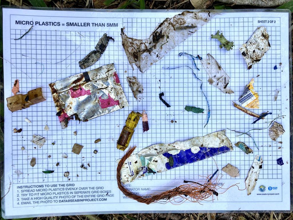 Plastics caught in the debris trap at Marine Rescue Ballina Unit's Seabin.