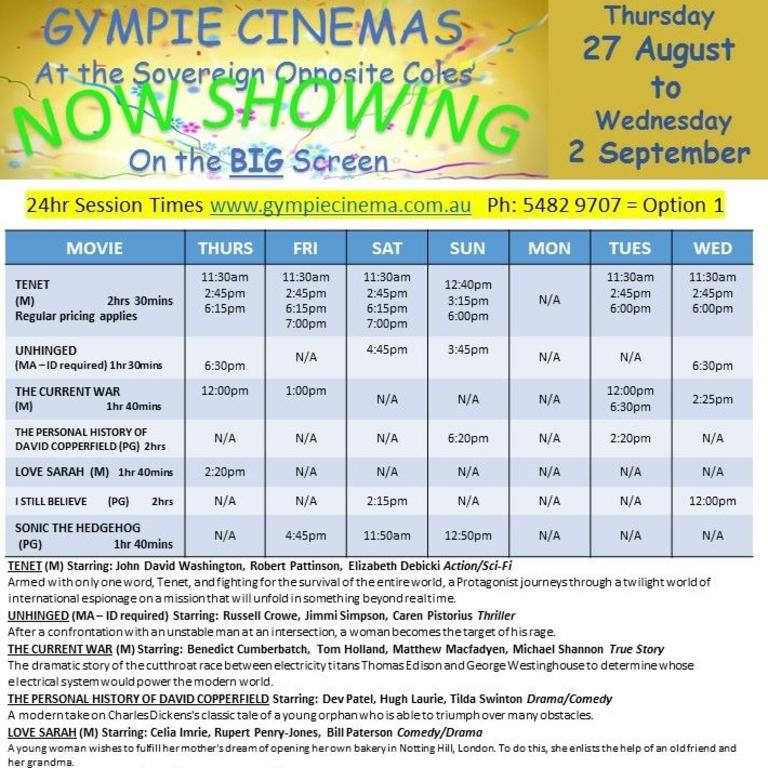 What's playing at the Gympie Cinema this weekend