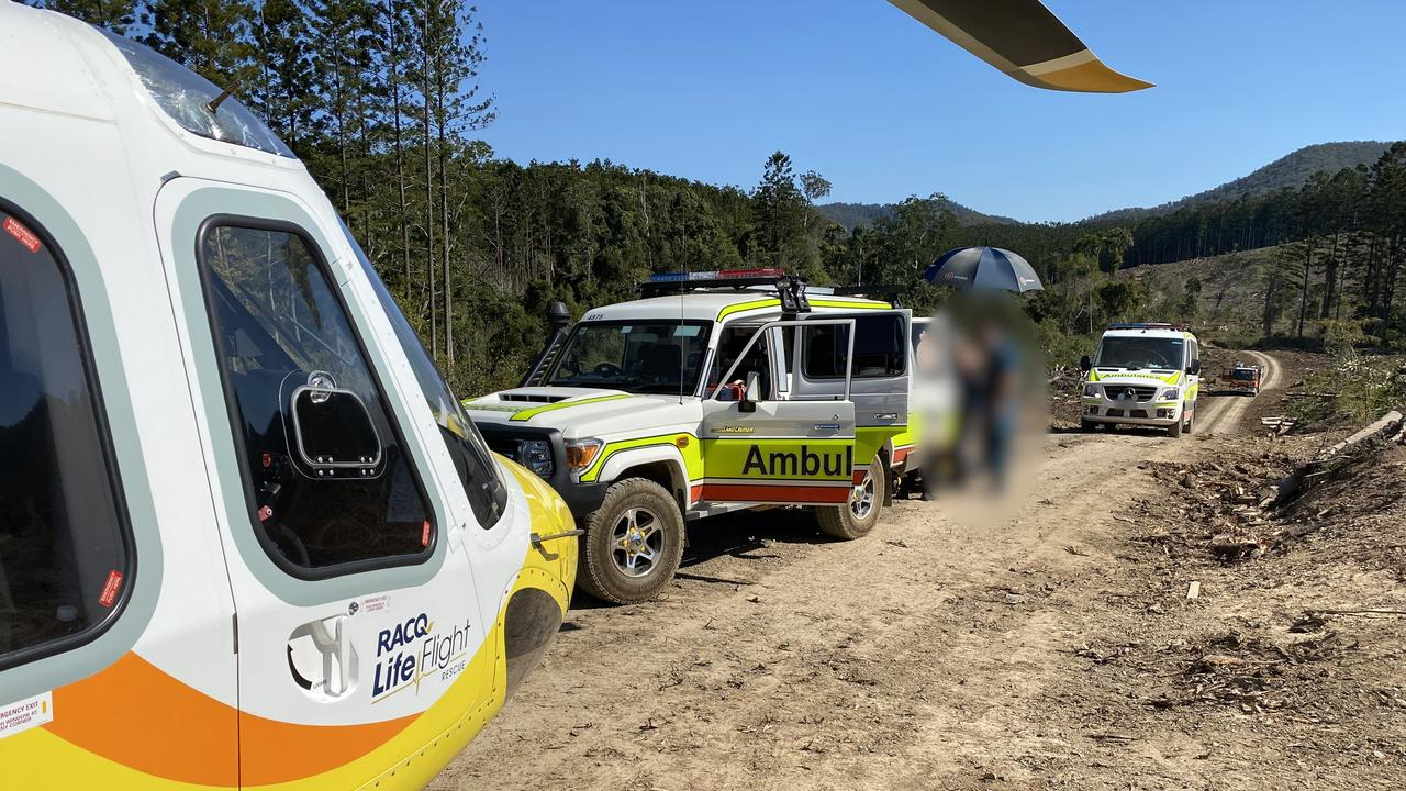 The Sunshine Coast RACQ LifeFlight Rescue helicopter has flown an injured man to hospital after he crashed his motorbike. Photo: RACQ LifeFlight Rescue