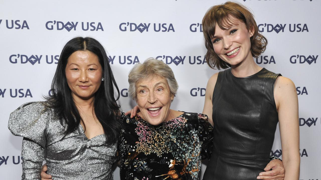 Unjoo Moon with Helen Reddy and Tilda Cobham-Hervey at the 2019 G'Day USA Gala (Photo by John Sciulli/Getty Images for G'Day USA )