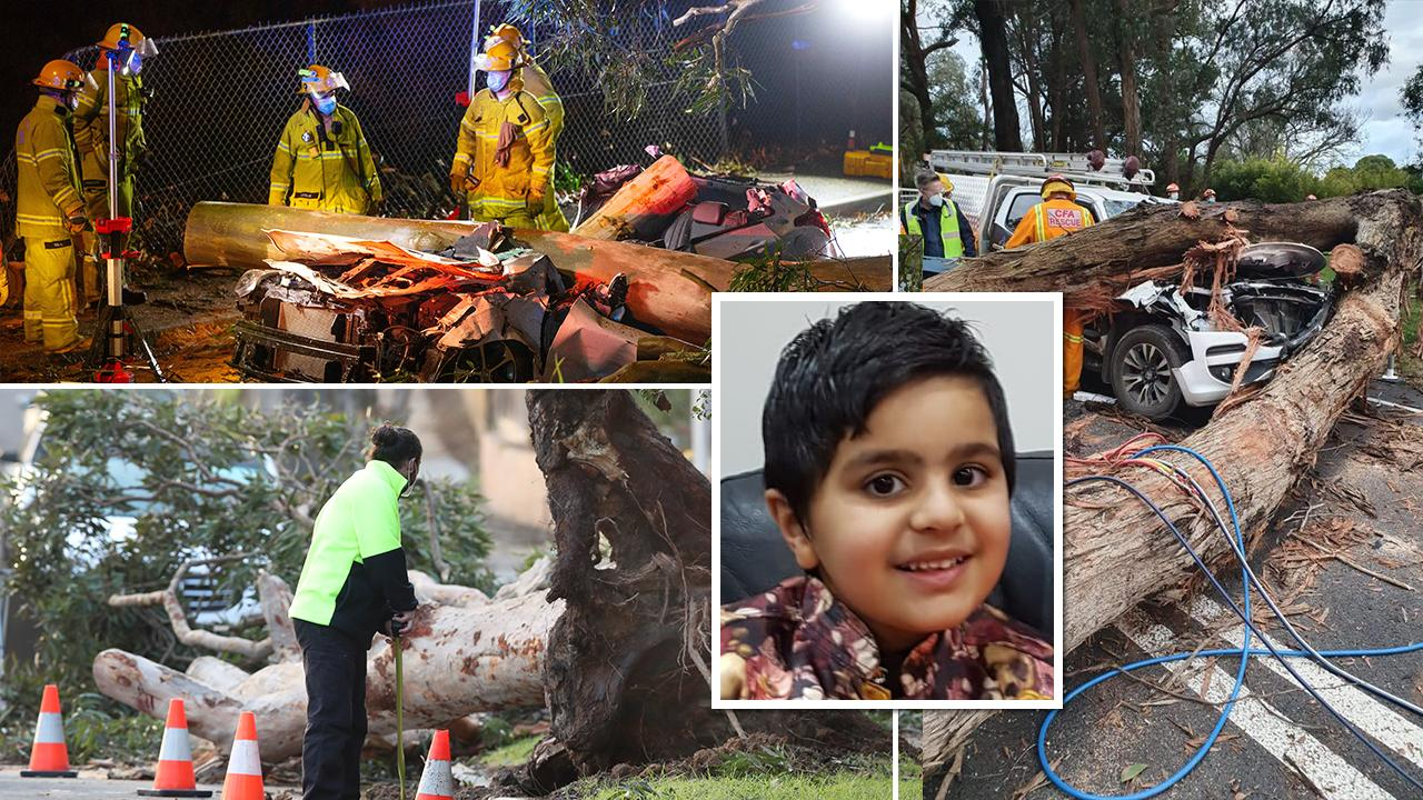A four-year-old boy walking with his father and sister was one of three people killed in the sudden wild storm that swept across Melbourne overnight.