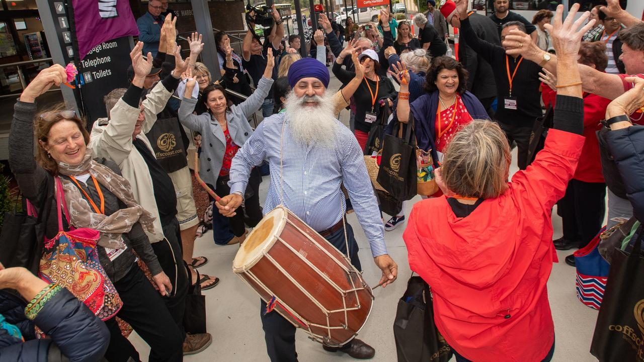 Cr John Arkan welcomes the Bollywood Express into Coffs Harbour Train Station in September last year.