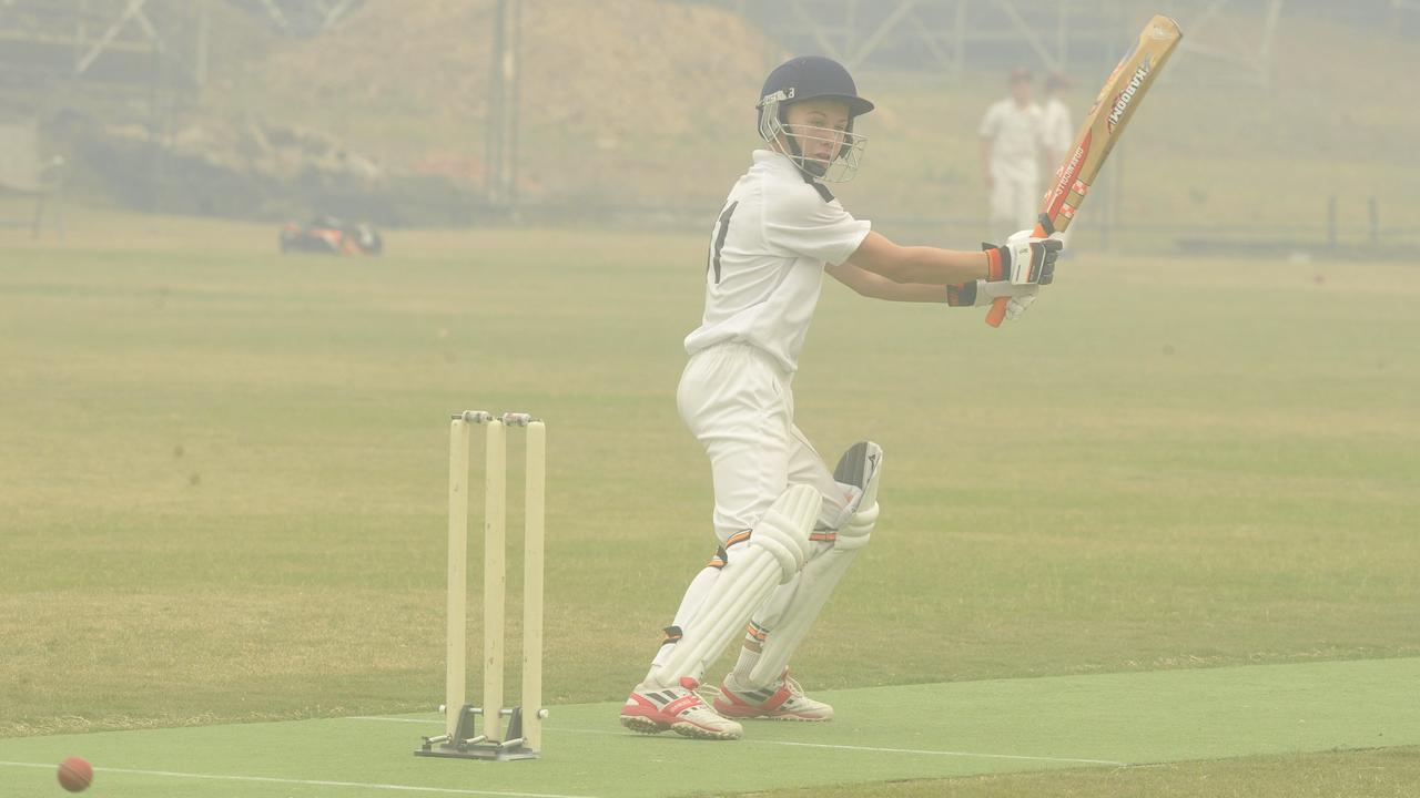 Clarence's Kyron Nipperess during the under-12 inter-district match that was smoked out between Clarence River Junior Cricet Association and Coffs Harbour District Cricket Association at Lower Fisher Park in 2019.