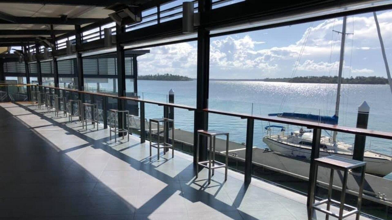 Yamba Shores Tavern's deck overlooking its pontoon