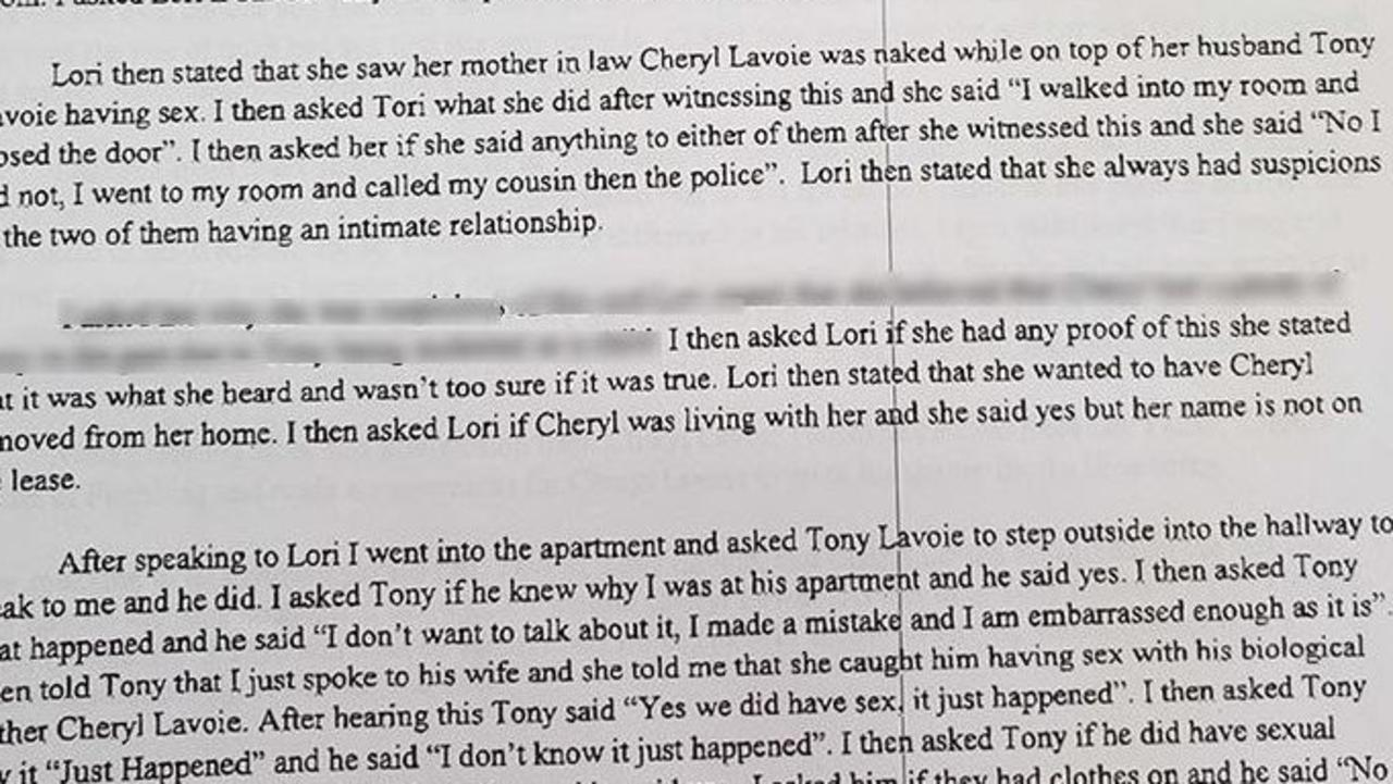 The police report reveals that Lori Lavoie had been told of something between her husband and his mother which had raised her suspicions.