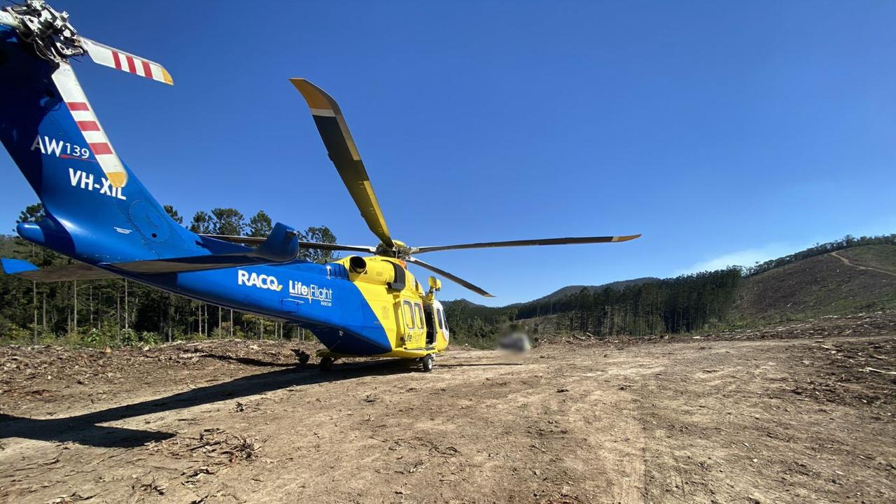 The man was flown to Brisbane's Princess Alexandra Hospital with suspected spinal injuries.