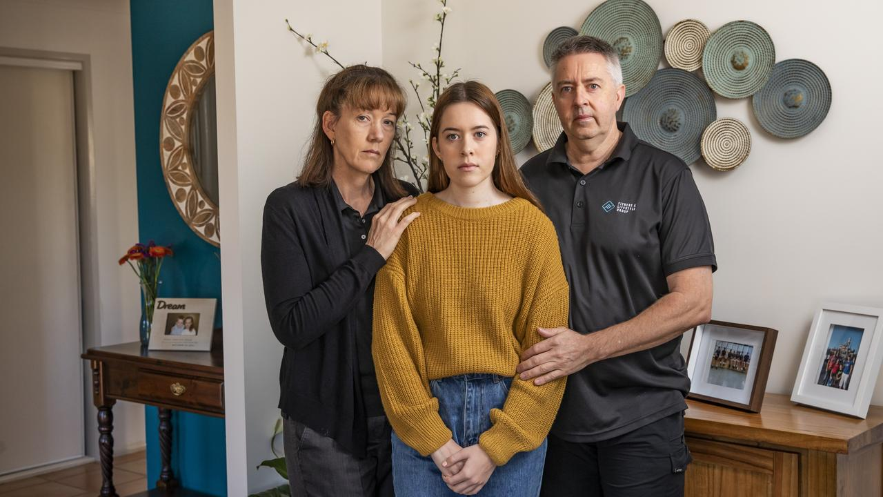 Peter and Fiona Waterson lost their son Jonah to suicide this year. Pictured with Georgia, Jonah's older sister. Picture: Mark Cranitch