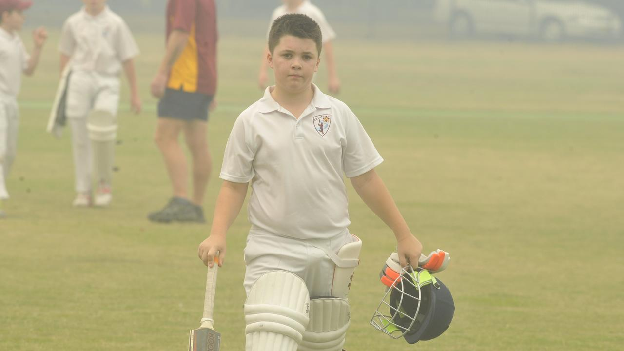 Clarence's Max Forwell during the under-12 inter-district match between Clarence River Junior Cricet Association and Coffs Harbour District Cricket Association at Lower Fisher Park in 2019.