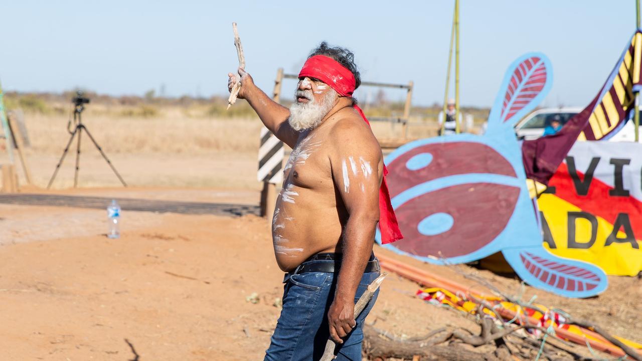 A protester near the Adani Carmichael mine site.