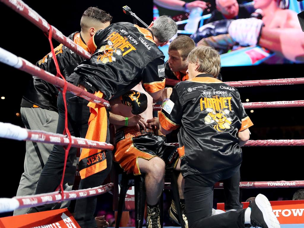 Glenn Rushton (right) talks to Jeff Horn in his corner. Picture: Alix Sweeney