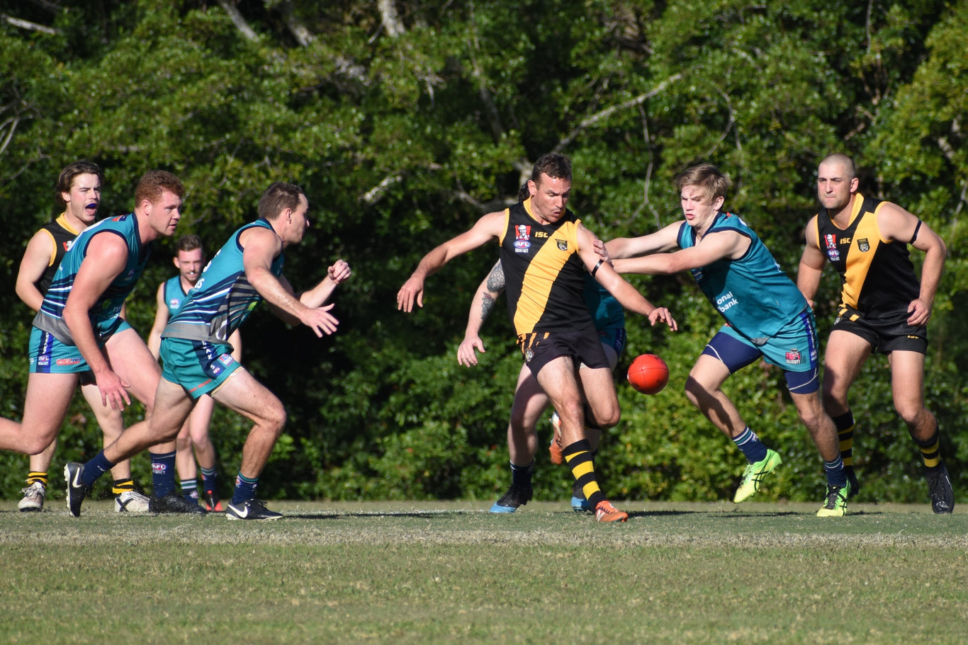 The Grafton Tigers proved too strong in an upset over defending premiers Coffs Harbour Breakers in round one of the AFL North Coast season on Saturday, July 18. Photo: Brad Greenshields