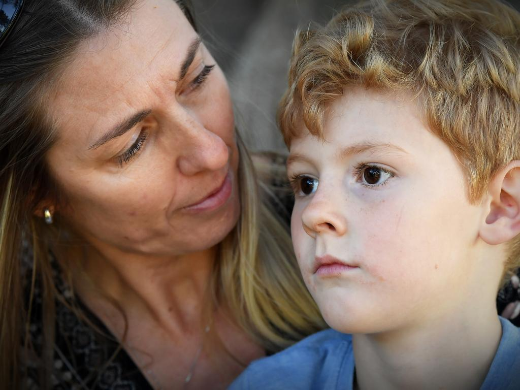 Tewantin's Rachel Bourne and her son, Mason, 5, haven't seen their husband and father for months due to FIFO restrictions. Picture: Patrick Woods