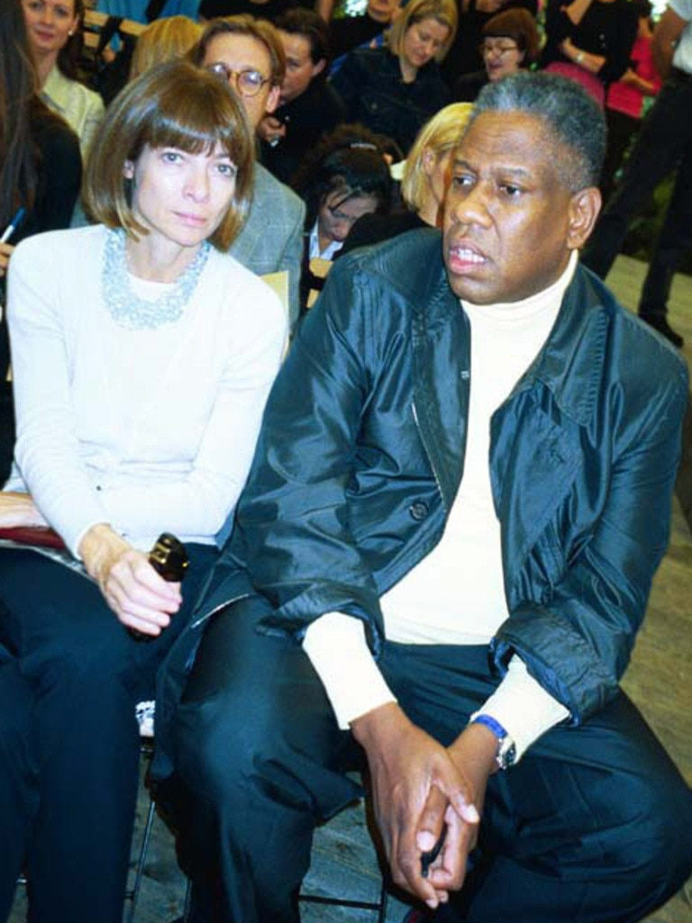 Anna Wintour and Andre Leon Talley at a fashion show in 1999. Picture: Chris Moore