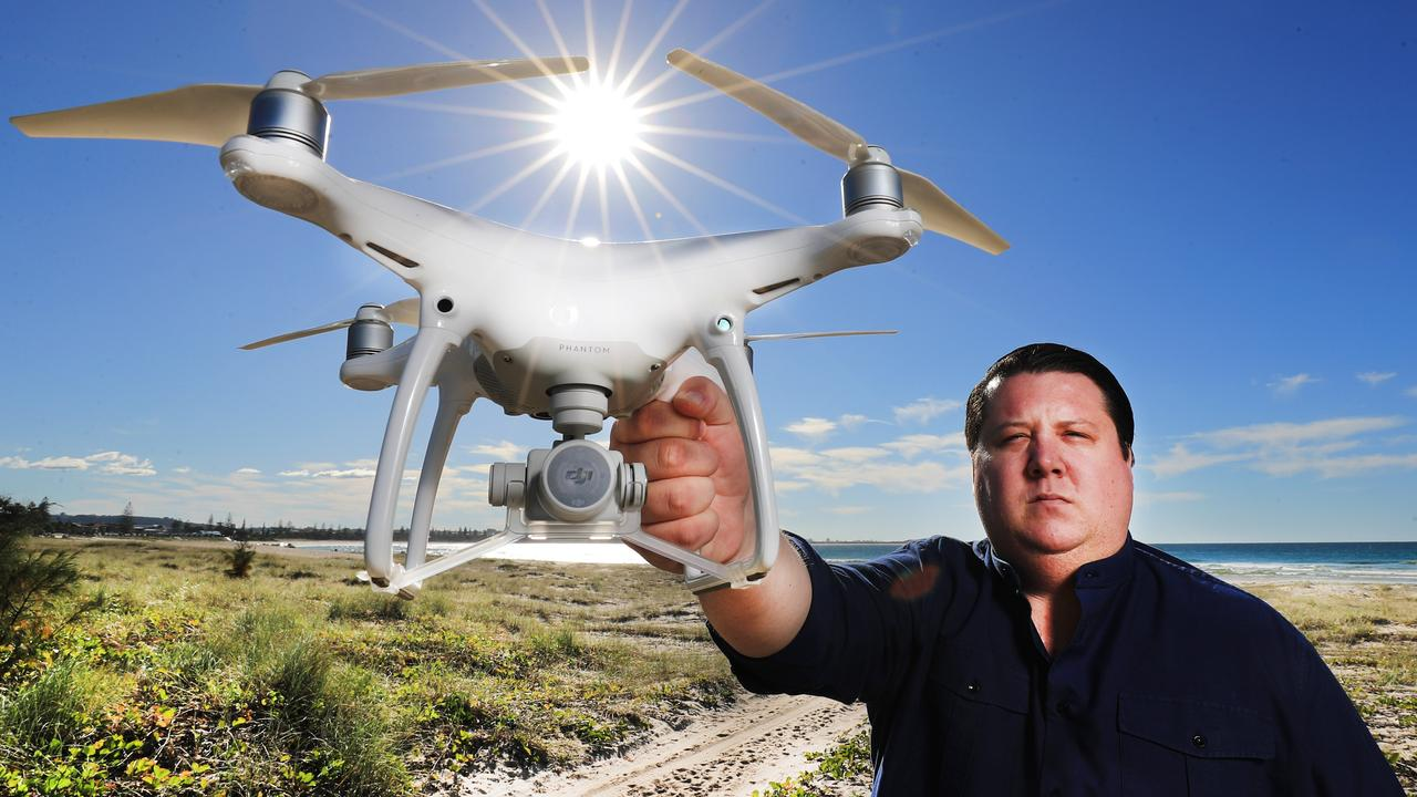 Tweed Shire councillor Reece Byrnes with a drone at Kingscliff. Picture: Scott Powick