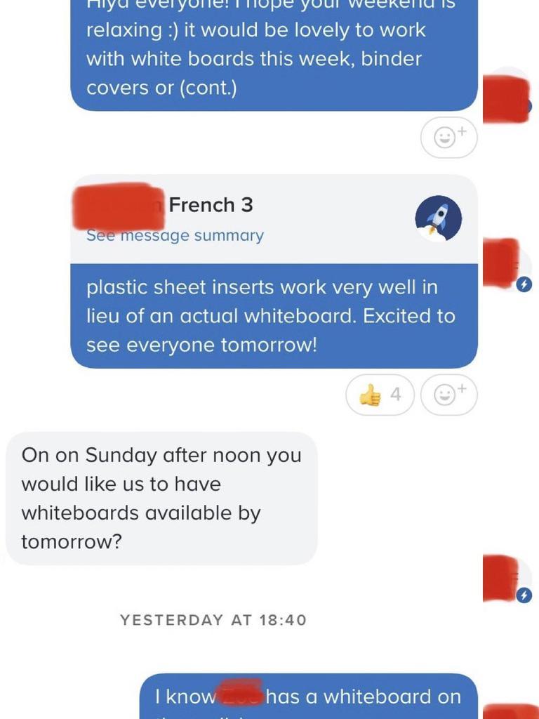 A mum has been slammed after a teacher shared their text message exchange.
