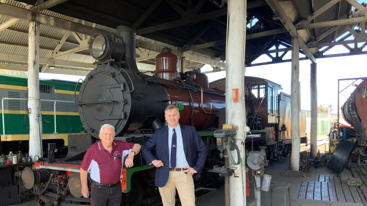 FULL STEAM AHEAD: SDSR president Peter Gilbert with Member for Southern Downs James Lister to celebrate funding boost. Picture: contributed