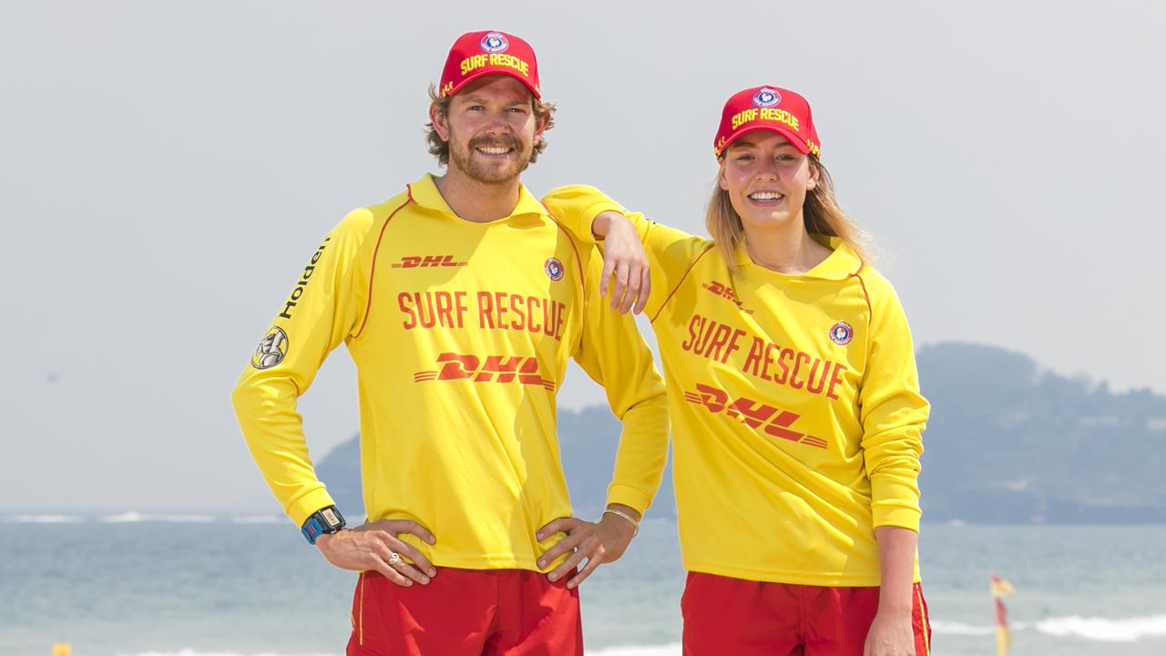 Surf lifesavers Alex Taylor and Jemima McGahey, who rescued Aref Emustapha at Seven Mile Beach in Booti Booti National Park. Both have received awards in recognition of the rescue. Picture: Dylan Robinson