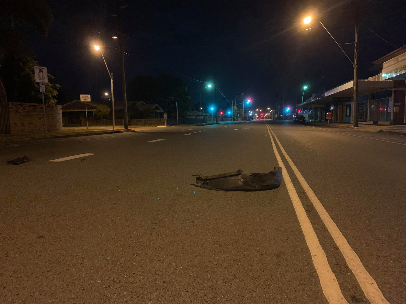 Tyre debris found along Shakespeare St just back from the Milton St intersection understood to have come off the vehicle involved in a Mackay police chase earlier this evening. Picture: Tara Miko
