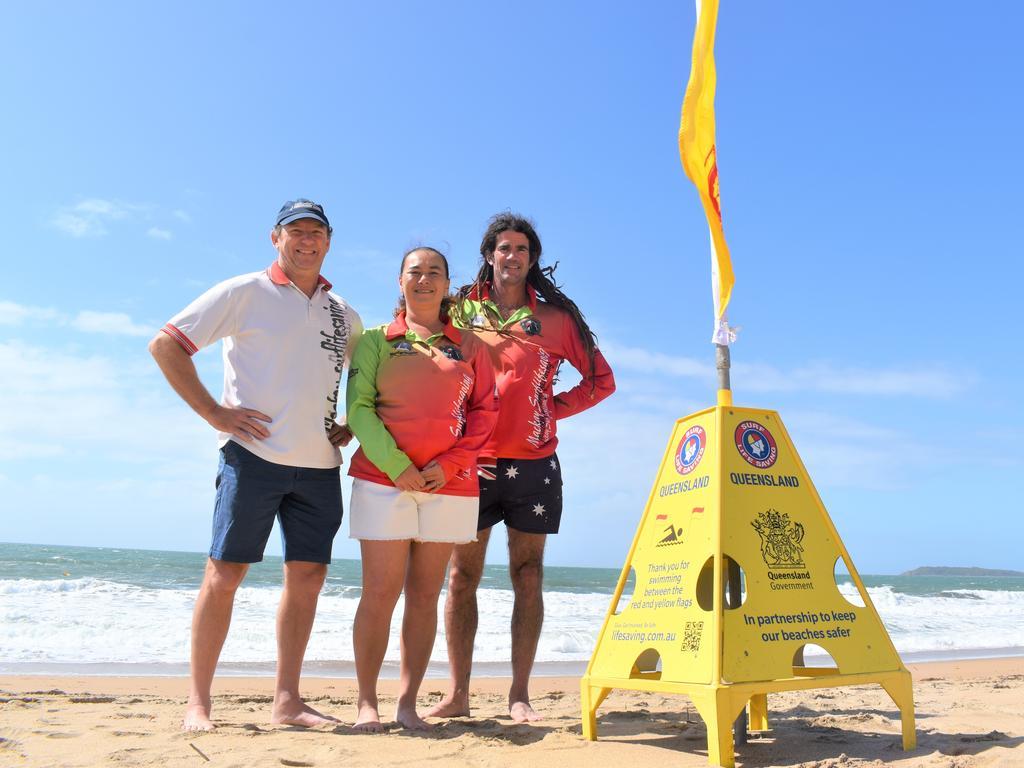 Mackay Surf Lifesaving Club president Brendan Smith and junior activity co-ordinators Lexi Schiffer and Josh Grant. Picture: Heidi Petith