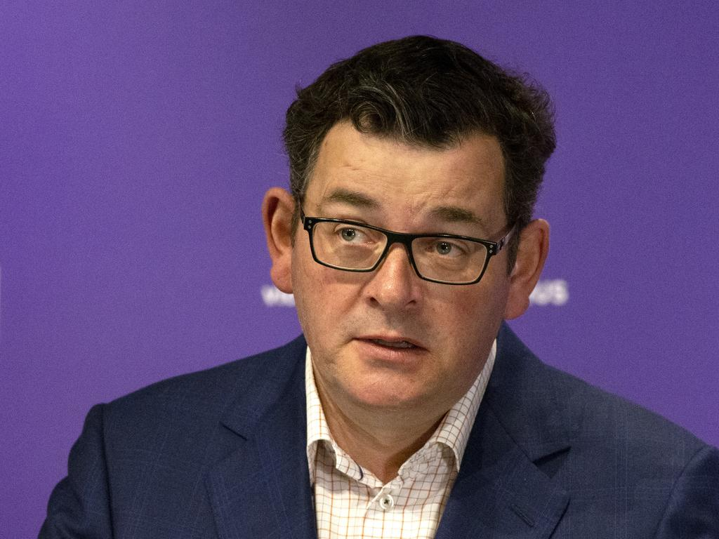 Victorian Premier Daniel Andrews gives his daily briefing. Picture: NCA NewsWire / David Geraghty